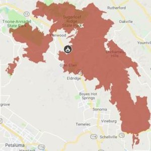 A fire location map of the 2017 Northern California Nuns fire.