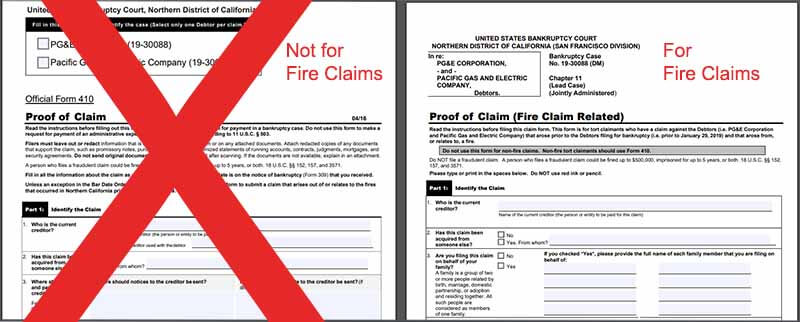 pg&e 401 form vs fire-related form