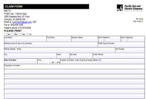 pg&e claim form, but not wildfire claim form
