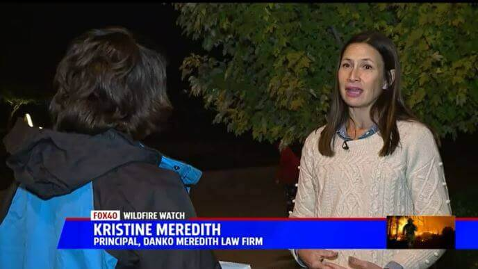 Kristine Meredith during an interview with Fox 40 regarding the 2018 Camp Fires.